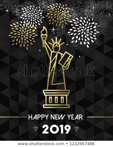 New Year 2019 NYC USA travel statue liberty gold Stock photo © cienpies