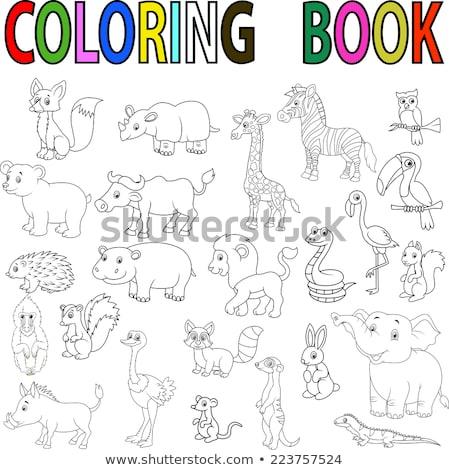 Stock fotó: állat · skicc · boldog · majom · illusztráció · háttér