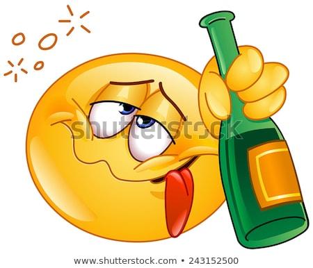Borracho Cartoon champán ilustración vidrio mirando Foto stock © cthoman