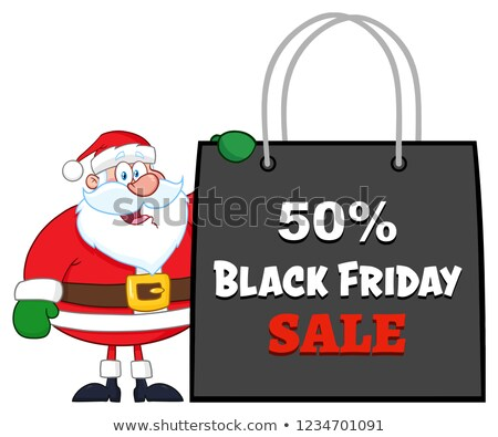 santa claus cartoon character showing shopping bag black friday stock photo © hittoon
