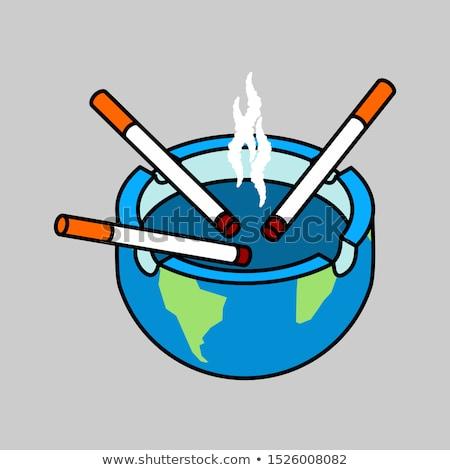 Cinzeiro terra planeta cigarros isolado fumador Foto stock © MaryValery