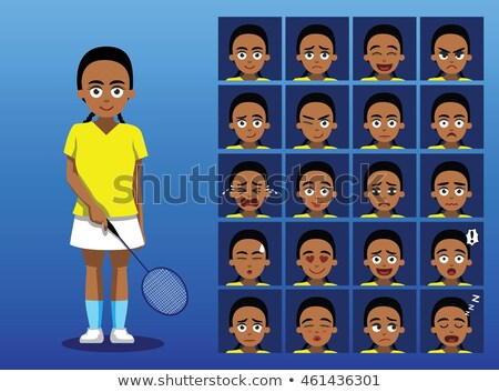 Triste cartoon noir badminton joueur illustration Photo stock © cthoman