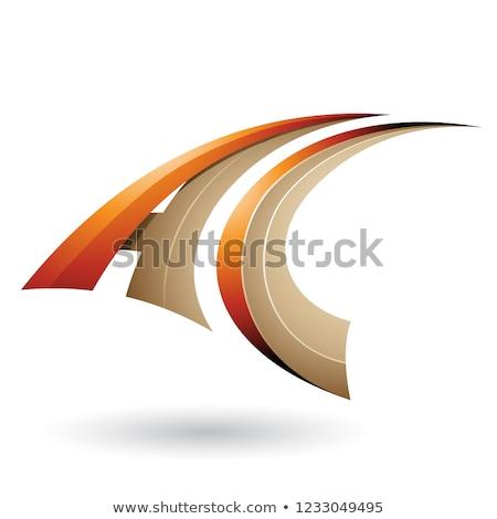Turuncu bej dinamik uçan mektup vektör Stok fotoğraf © cidepix