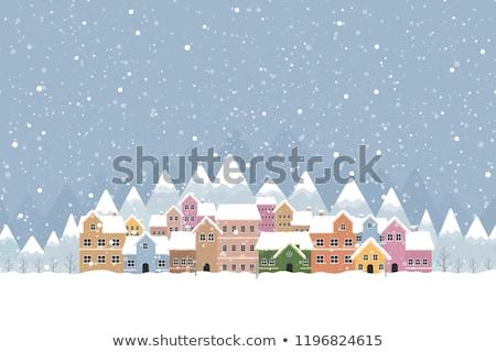 Stok fotoğraf: Mavi · kış · köy · manzara · ev · Noel