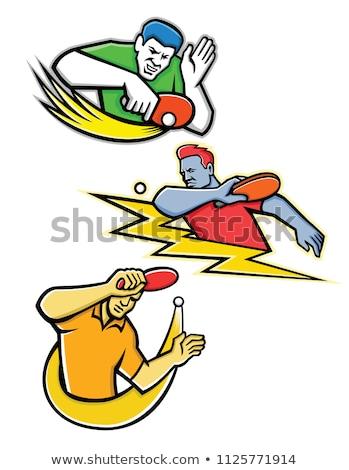 Table Tennis Player Blocking Mascot Stock photo © patrimonio
