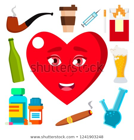 Health Concept, Heart Surrounded By Cigarettes, Alcohol, Medicine And Coffee Vector. Isolated Cartoo Stock photo © pikepicture