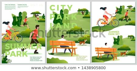 人 公園 ポスター 少年 ベンチ ランナー ストックフォト © robuart