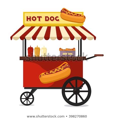Hot Dog Cart for Street Food Vector Illustration Stock photo © robuart