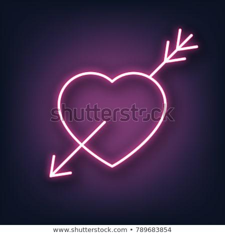 14 kalp neon etiket romantizm tanıtım Stok fotoğraf © Anna_leni