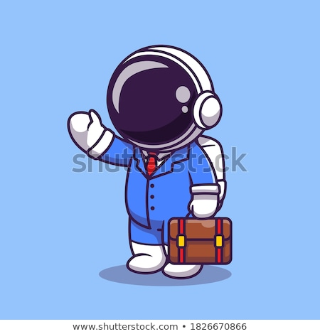 worker in suit with suitcase cartoon isolated icon stock photo © robuart