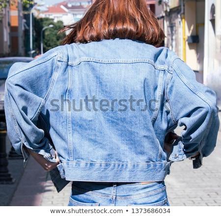 Belo menina feliz jaqueta feliz mulher jovem Foto stock © svetography