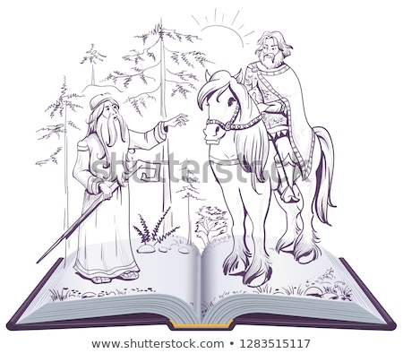 Pushkin fairy tale Song on Prophetic Oleg open book illustration Stock photo © orensila