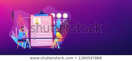 Employé évaluation bannière tête employeur réunion Photo stock © RAStudio