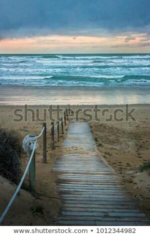 Onweersbui scène strand illustratie hemel kunst Stockfoto © bluering