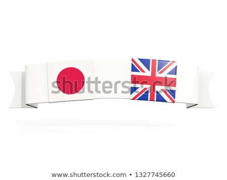 Banner with two square flags of United Kingdom and japan Stock photo © MikhailMishchenko