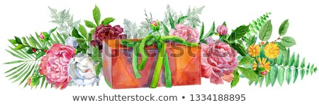 Watercolor llustration with gift box and peonies. For design, print or background Stock photo © Natalia_1947