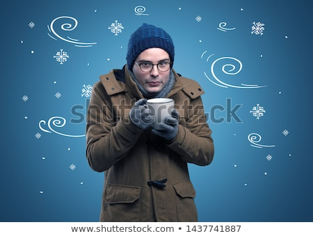 Frozen boy with doodled snowflake and windy concept Stock photo © ra2studio