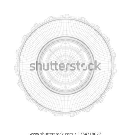 3D wireframe modelo trator pneu branco Foto stock © magraphics