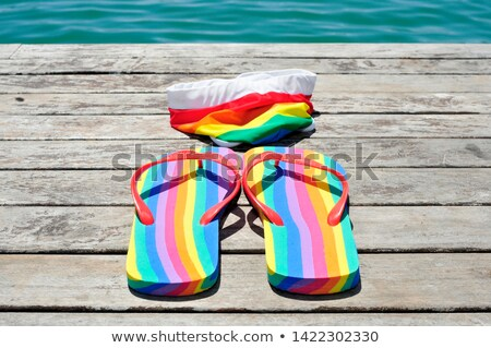 rainbow-patterned flip-flops and swimsuit on dock Stock photo © nito