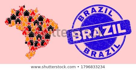 Brasil · ilustração · bandeira · silhueta · cidade · cristo - foto stock © netkov1