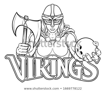 Viking trójai kelta lovag bowling harcos Stock fotó © Krisdog