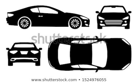 rojo · coche · aislado · blanco · pequeño · sedán - foto stock © ipajoel