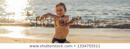 The boy screams and freaks out on the beach, throws sand. Tantrum concept BANNER, LONG FORMAT Stock photo © galitskaya