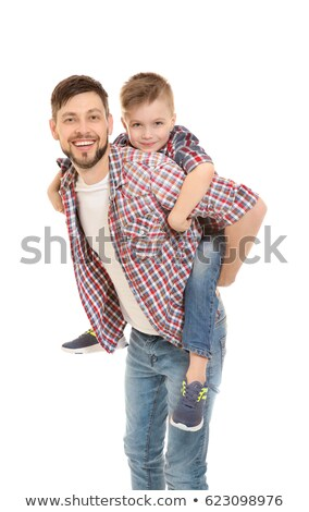 Handsome man with his son on white background Stock photo © Lopolo