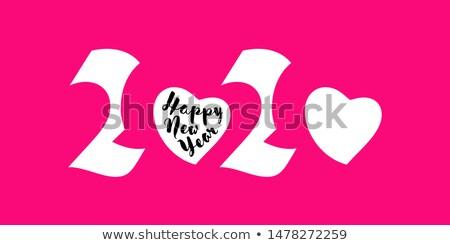 Elegancki biały numery serca szczęśliwego nowego roku Zdjęcia stock © ussr