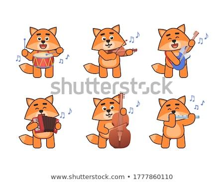 Karakter érzelem dob hangszer pop art retro Stock fotó © rogistok