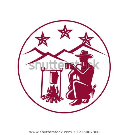 Cowboy boire café feu de camp cercle icône Photo stock © patrimonio