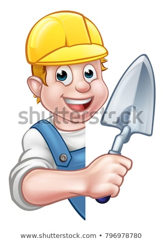 Bricklayer Builder Hand Fist Holding Trowel Stock photo © Krisdog