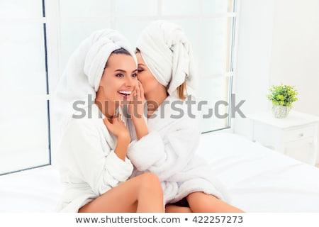 Portré gyönyörű nő fehér fürdőköpeny hálószoba gyönyörű Stock fotó © dashapetrenko