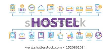 hotel · motel · pokój · ikona · wektora - zdjęcia stock © pikepicture