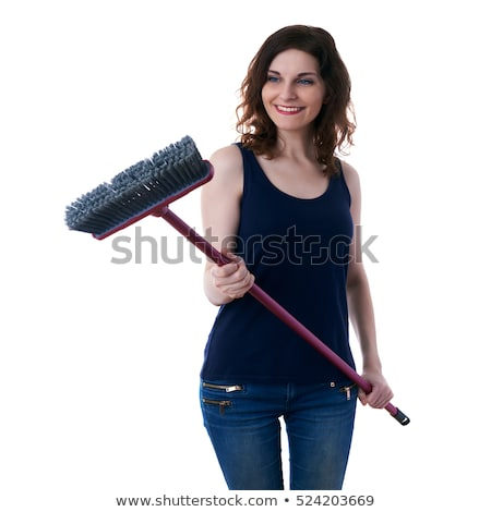 The woman with sweeping brush isolated on white Stock photo © Elnur