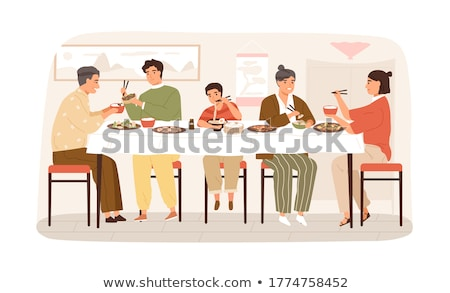 Chinese Family Eating Together at Home Illustration Stock photo © artisticco