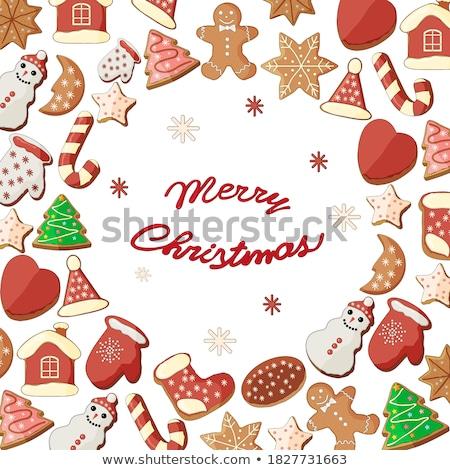 Noel tebrik kartı zencefilli çörek kurabiye şekerleme noel Stok fotoğraf © karandaev