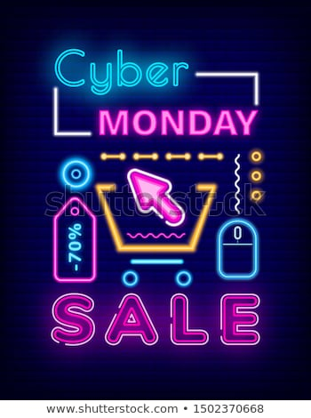 Cyber Monday Sale on Pricetag Neon Sign Vector Stock photo © robuart