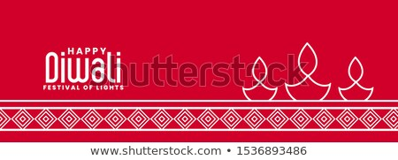 stylish line style diya lamp red diwali banner Stock photo © SArts