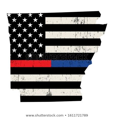 Arkansas policji strażak wsparcia banderą amerykańską flagę Zdjęcia stock © enterlinedesign
