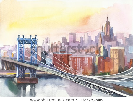 Watercolor Manhattan Bridge NYC Stock photo © unkreatives