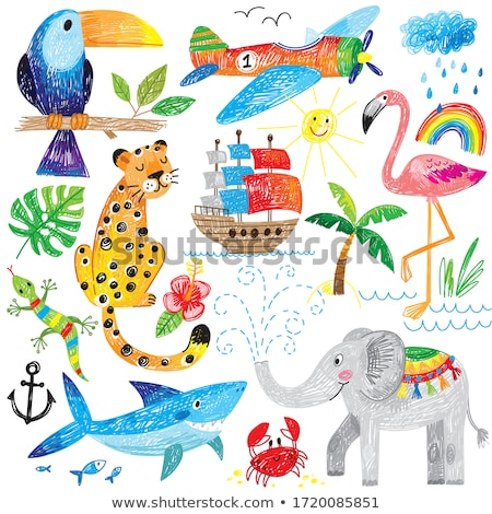 Nautical cartoon color cute doodle illustration Stock photo © balabolka