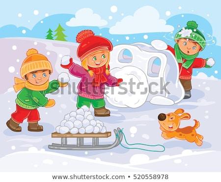 Menino menina jogar bola de neve lutar inverno Foto stock © robuart