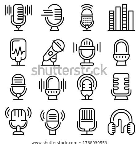 Hoofdtelefoon gastheer icon schets illustratie Stockfoto © pikepicture
