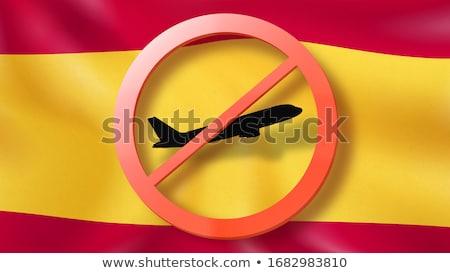 Fora avião bandeira espanhola assinar preto Foto stock © artjazz