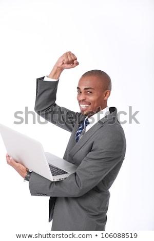 Afbeelding kaal afro-amerikaanse man laptop Stockfoto © deandrobot
