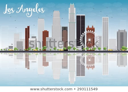 Los Angeles Skyline with Color Buildings, Blue Sky and Reflectio Stock photo © ShustrikS