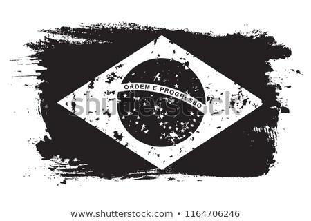 Brazilië vlag hand witte achtergrond teken Stockfoto © butenkow