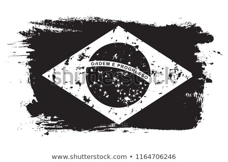 Brazil flag and hand on white background. Vector illustration Stock photo © butenkow