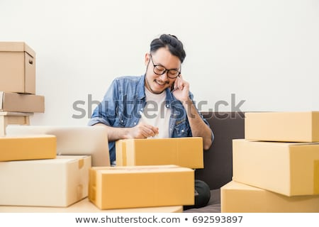 Stockfoto: Startup · kleine · bedrijven · ondernemer · jonge · asian · man
